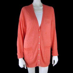 J.Crew Linen Cable Knit Cardigan Sweater